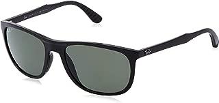 Men's RB4291 Square Sunglasses, Black/Polarized Green, 58 mm