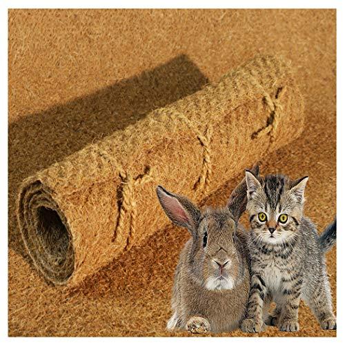 Nager-Teppich aus 100% Kokosfasern 100 x 100 cm / 7mm, Nagermatte geeignet als Käfig Bodenbedeckung für Kaninchen, Meerschweinchen, Hamster, Degus, Ratten und andere Nagetiere - Nagerteppich