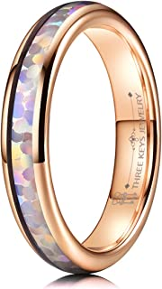 4mm Womens Tungsten Wedding Ring White/Red Imitated Opal Inlay Rose Gold Black Bands