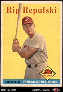 1958 Topps # 14 Rip Repulski Philadelphia Phillies (Baseball Card) Dean's Cards 2.5 - GD+ Phillies