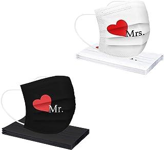 GPure 10/50/100 Pièces Adulte Bandanas Amoureux Romantiques Pour La Saint Valentin Coeurs Black Mr Et White Mrs Imprimé Re...