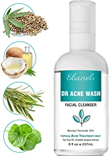 Benzoyl Peroxide 10% Acne Wash for Face and Body, 8 oz Maximum Strength Acne Cleanser, Acne Treatment for Teens and Adults, Clean and Clear Acne Spot Treatment for Cystic Acne, Clogged Pores, Pimples