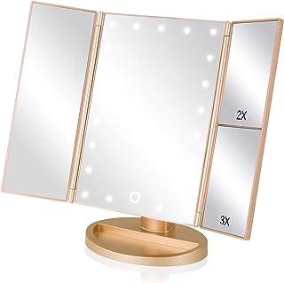 EASEHOLD Miroir Lumineux de Maquillage Miroir de Table Lumière Eclairage Tactile Tri-Pli Grossissement 2x3x avec 21 LEDs R...