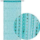 AIZESI Türvorhang Gardinen Deko 90x200cm Vorhänge Verdunklung String Tür Vorhang Fliegen Insect Bug Screen für Türöffnungen Teiler Oder Fenstervorhang Panel(Blau)