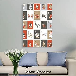 SfeatruAngel_SOSUNG Canvas Framed Prints Wall Art,Christmas Advent Calendar with Symbols.(16