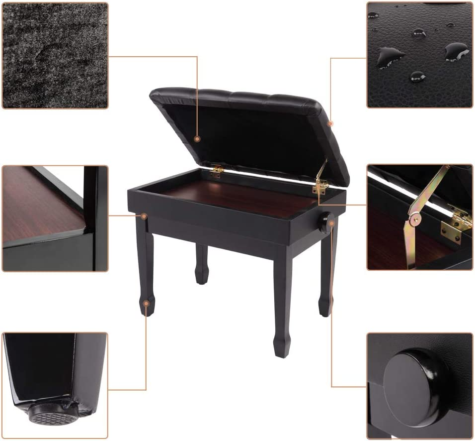 Black with storage Leather Backless Stool Adjustable Deluxe Padded Piano Bench Music Keyboard Bench Music Books Storage Compartment Vanity Stool Solid Hard Wood Construction