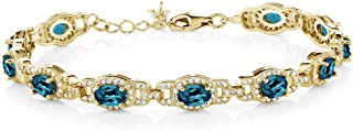 Gem Stone King 9.65 Ct Oval London Blue Topaz 18K Yellow Gold Plated Silver 7 Inch Bracelet With 1 Inch Extender