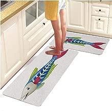 Printed Kitchen(Non-Slip) Runner Rug Set,Fun Colors,Cute x ray Fish Cartoon (18