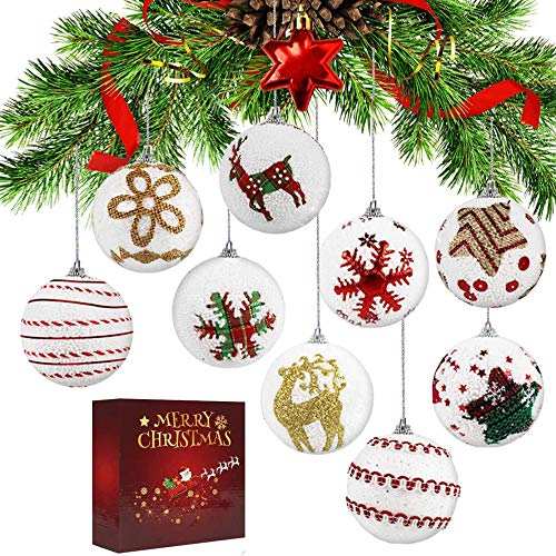 Christmas Balls Ornaments Xmas Balls Baubles Set,Shatterproof Christmas Tree Ornament Hanging Ball for DIY Craft Activities 2.4inch(9Pack)