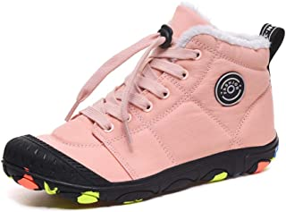 Kids Snow Boots Warm Lined Winter Boots Boys Lace Up Casual Flat Ankle Booties Girls Anti Slip Sneaker Faux Leather Black Grey Blue Pink Size 11-6 UK Child