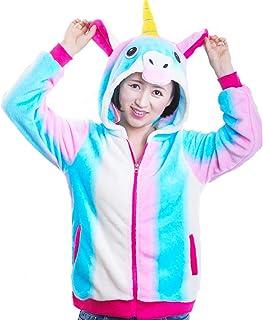Juway Girls Hoodies Flannel Unicorn Jackets Halloween Costume Sweatshirt(Blue, 8-9T)