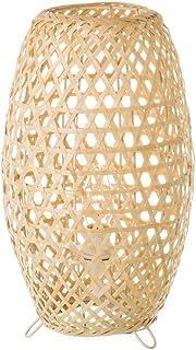 Lámpara de mesita de noche trenzada rústica de bambú beige de 35 cm - LOLAhome