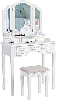 Makeup Dressing Table طاولة خلية خلع الملابس الحديثة مع مرآة ثلاثي للطي و 7 أدراج لتخزين مكتب الغرور، أبيض Vanity Table Desk