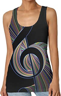 Tank Tops for Women, Artistic Treble Clef Music Notes Tank Blouse