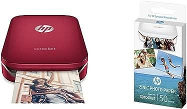 HP Sprocket - Impresora fotográfica portátil roja + 50 hojas ...
