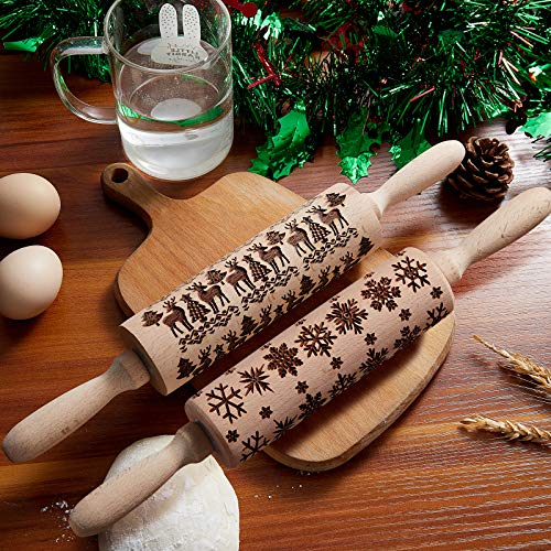 Embossed Rolling Pin Wooden 4D Rolling Pin for Baking Cookies, Christmas Elk Pattern Embossed Professional Dough Rolling Pins, Beech Wood for Baking Pizza, Clay, pasta, Cookies, Roller Pins Baking