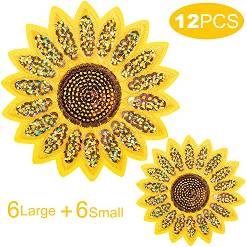 Sunflower Sequins Embroidery Patches, Iron On Patches, Sew On Applique Badge for Clothes Jeans Jacket Hat Dress DIY Accessories (12Pcs)