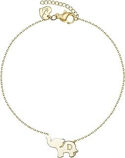 Tiny Lucky Elephant Pendant Anklets Initial Elephant Bracelets Anklets for Women Dainty 14K Gold Filled Friendship Charm Jewelry