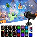 Christmas Projector Lights Double Cylinder Water Star Rotating Projection Lamp Halloween Christmas Animation Projector AC85-240V 50-60Hz ABS LED Lights