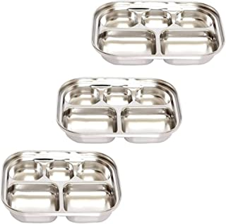 Stainless Steel Divided Tray Divided Dinner Snack Plate Kids Baby Plate Diet Plate Diet Food Control Tray 5sections Set (247x183x36mm 3pack)