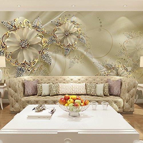 TV Kulisse Wohnzimmer 3D dreidimensional europäischer Stil Schmuck Blumen nahtlose Wandbild 4D Film und TV Tapeten Ein Quadratmeter Abdeckung 10.76 Quadratmeter