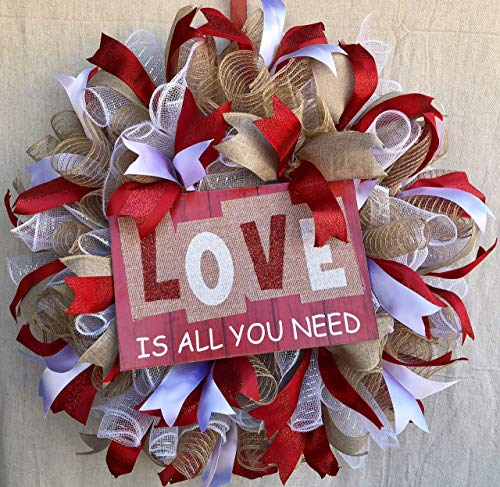 Rustic Valentine Love Wreath Valentine Decor Valentine Door Hanger Wall Decor Burlap Bowtique
