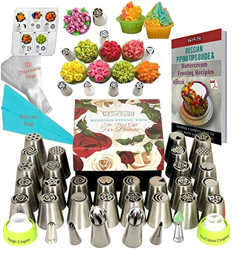 Russian Piping Tips Set DELUXE Flower Frosting Tips 33 GENUINE Large...