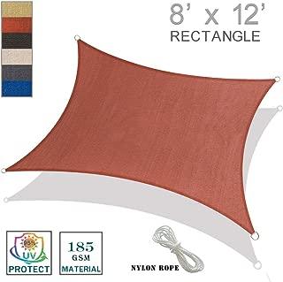 SUNNY GUARD 8' x 12' Terra Rectangle Sun Shade Sail UV Block for Outdoor Patio Garden