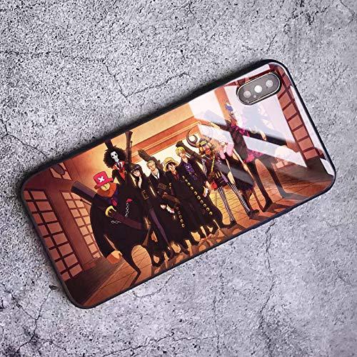 Funda de Cristal Templado para iPhone 6, 6S, 7, 8 Plus, X, XR, XS y XS MAX One Piece Luffy Zoro Paja Sombrero Cover-Photo_Color_11pro
