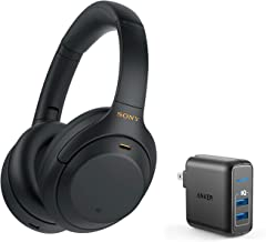 Sony WH-1000XM4 Wireless Noise-Canceling Headphones Bundle with Anker PowerPort Elite 2 Port USB Wall Charger - Black