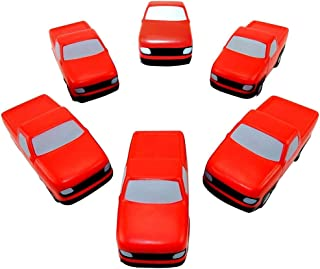 Lot of 6 - Pickup Truck Shaped Stress Relief Squeezable Toys, Red & Gray - #SB-959.
