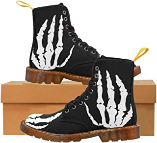 Artsadd Fashion Shoes Skull Hand Lace Up Boots for Women
