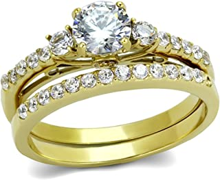 0.6 Carat Round Cut CZ Women's Gold IP Stainless Steel Wedding/Engagement Ring Set