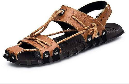 Yingsssq Strand Sandalen Herren Leder Slipper Rutschfest Draussen Offener Zeh Schuhe,schwarz,45 (Farbe   Braun, Größe   38)