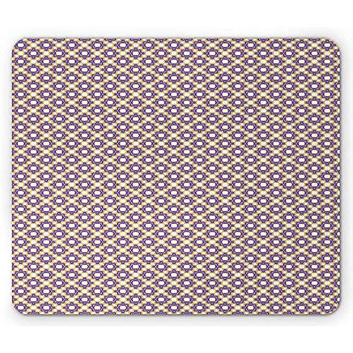 Abstrakte Mausunterlage,Sich Wiederholendes Retro- Geometrisches Dreieck-Mosaik-Würfel-Muster,Rutschfestes Gummi-Mousepad des Rechtecks,Blaues Violettes Blasses Kamel