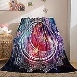 Merryword Boho Moon Flannel Blanket Mandala Throw Blanket Zentangle Sun and Moon Printed Soft Plush Galaxy Blanket for Bedroom Couch Sofa (Twin(60'x80'), Moon)