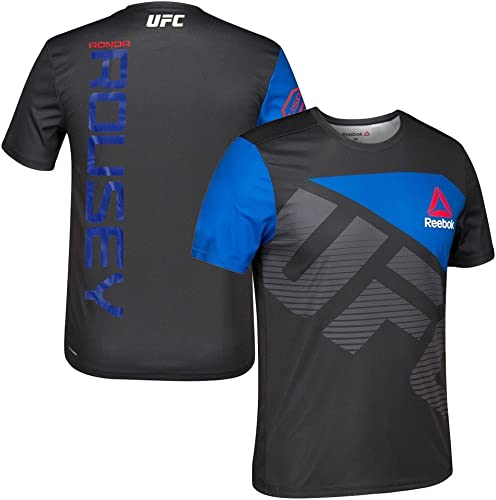 Adidas Ronda Rousey UFC Reebok Noir Royal Officielle Fight kit Sport-Fit Jersey pour Homme