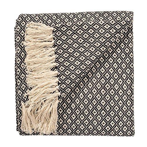 Fair Trade Weiche handgewebte Tagesdecke Sofa Überwurf schwarz Rautenmuster 100prozent Baumwolle 130 x 180 cm TH136BK