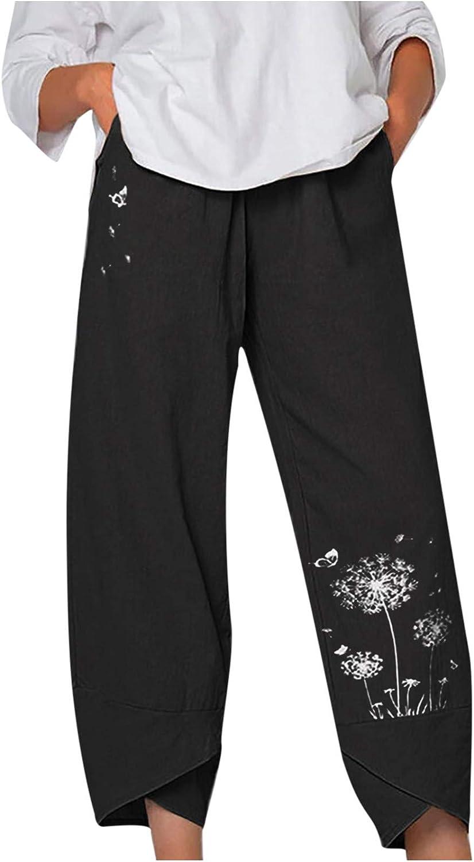 WUAI-Women Comfy Bohemian Yoga Pants Floral Printed Cotton Linen Wide Leg Drawstring Elastic Waist Capris Crop Pants