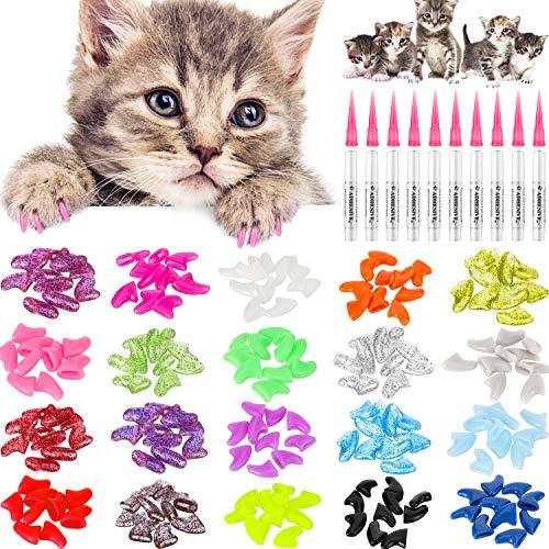 WILLBOND 200 Piezas Tapas de Uñas de Gato Coloridas Cubiertas de Garras Uñas Suaves de Gatos con 10 Piezas Pegamentos Adhesivos y 10 Piezas Aplicadores con Instrucción para Mascotas Gatos