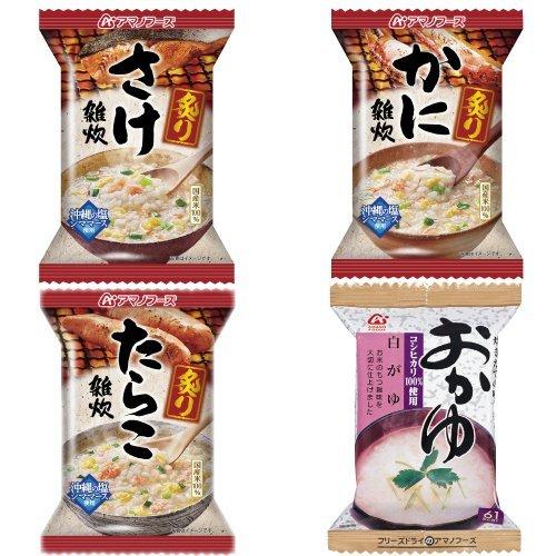 アマノフーズ フリーズドライ 雑炊 おかゆ 4種類 16食 小袋ねぎ1袋 セット