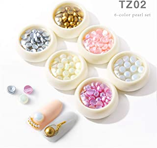 Mezerdoo 6 Boxes 3D Half DIY Resin Groove Nail Art Pearl Gold Silver Beige Mix Color Nail Beads Studs Charm Nail Art Imitation Pearls For Nail Decoration