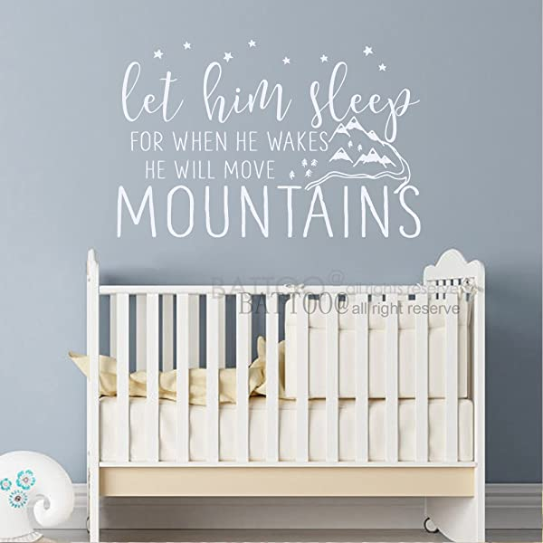 BATTOO Kids Wall Decal Let Him Sleep For When He Wakes He Will Move Mountains Quote Boys Nursery Wall Decor Childrens Wall Art 50 W By 37 H White