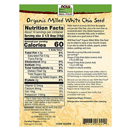 NOW Foods, Organic White Chia Seeds Milled, Source of Essential Fatty Acids and Fiber, Certified Non-GMO, 10-Ounce