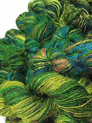 Recyceltes Sari-Seidengarn–meeresgrün, bunt (100Gramm)