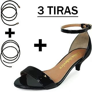 Sandália Salto Baixo Fino Luiza Sobreira Verniz Preto Mod. 4065-2