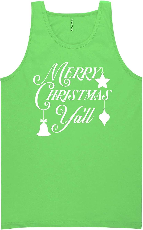zerogravitee Merry Christmas Y'all Neon Green Tank Top - XX-Large