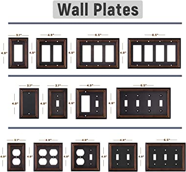 SLEEKLIGHTING Pack of 4 Wall Plate Outlet Switch Covers by SLEEKLIGHTING-Decorative oil rubbed bronze-Variety of Styles: Deco