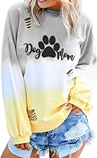 Gradient Color Shirt Women Hippie Soul Tshirt Tie Dye Long Sleeve O Neck Letter Printed Casual Tops