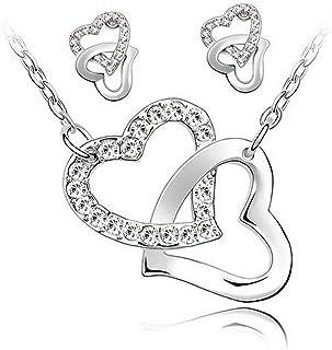 Sungpunet Collar y Pendientes Conjunto Collar y Pendientes Gala 2 Corazones entrelazados Cadenas y el Conjunto de Joyas Pl...